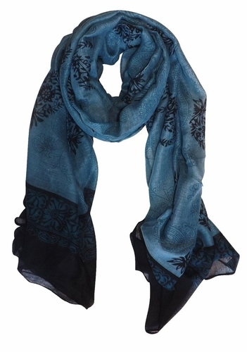 Periwinkle Black Tribal Floral Two Color Paisley Print Lightweight Shawl Scarf