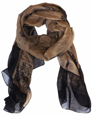 Taupe-Black Tribal Floral Two Color Paisley Print Lightweight Shawl Scarf