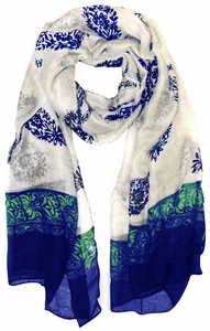 Green-Blue Tribal Floral Two Color Paisley Print Lightweight Shawl Scarf