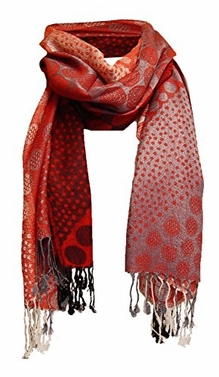 Red Tri-Color Circle Design Pashmina Shawl Wrap