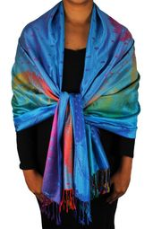 Tropical Blue Rainbow Feather Pashmina Wrap Shawl Scarf