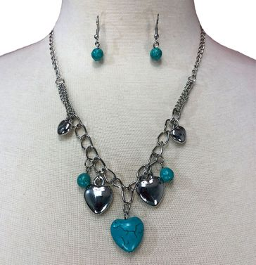 Turquoise Heart Drop Pendant Necklace & Earring Set