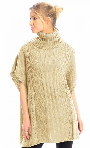 Turtleneck Cable Knit Button Sweater Front Pockets Wrap Poncho (Cream)