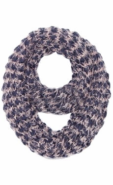Navy Two tone Knit Soft Infinity Loop Scarves Black