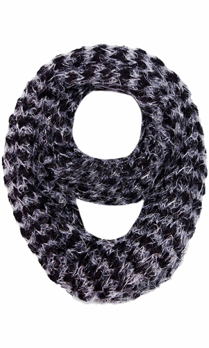 Black Two tone Thick Knit Soft Infinity Loop Scarves