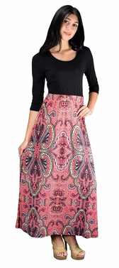 Pink Two Toned Paisley Tie � Sleeve Maxi Dress