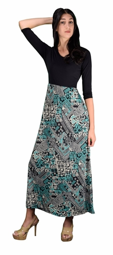 Teal Two Toned Paisley Tie � Sleeve Maxi Dress