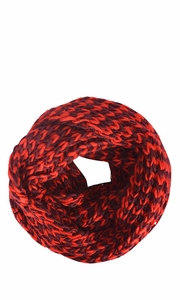 Unisex Chevron Design Hand Knit Thick Chunky Infinity Loop Scarves (Maroon Red)