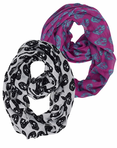 White Fuchsia Unisex Skull Printed Large Neck scarf Lightweight Soft Cotton Feel 2 Pack Scarf Set