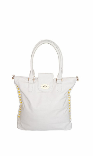White Top Handle Slouchy Hobo Hand Bag Office Style Tote Purse