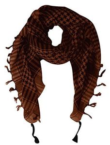 Brown 100% Cotton Unisex Tactical Military Plaid Shemagh Keffiyeh Scarf Wrap