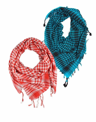 Turquoise Red Unisex Shemagh Houndstooth Scarf  2 Pack Scarf Set