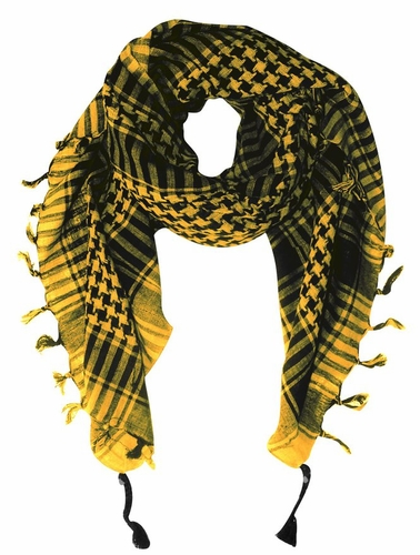 Yellow Soft Unisex Shemagh Houndstooth Scarf
