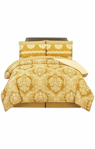 Gold Damask Printed Boho Reversible Soft Comforter 4 Piece Set