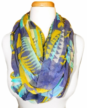 Blue Yellow Tribal Lightweight Infinity Loop Scarf