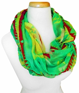 Vibrant Tribal Geometric Lightweight Infinity Loop Scarf (Green/Red)