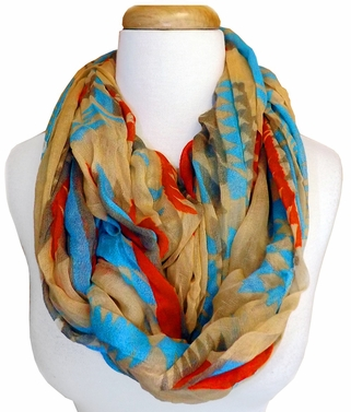 Tan/Blue Tribal Geometric Lightweight Infinity Loop Scarf