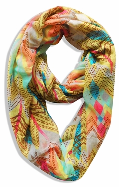 Yellow Tribal Geometric Lightweight Infinity Loop Scarf