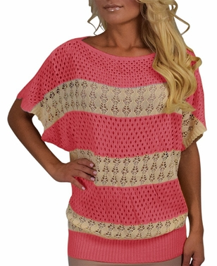 Coral Vintage Bohemian Paradise Crochet Striped Top