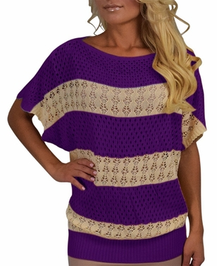 Purple Vintage Bohemian Paradise Crochet Striped Top