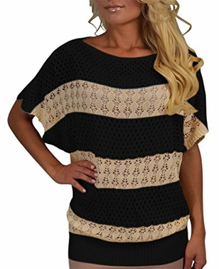 Vintage Bohemian Paradise Crochet Striped Top (Small/Medium, Black)