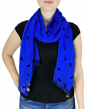 Dark Blue Vintage Bow Embossed Scarf with Jewelry Charm & Lace Border
