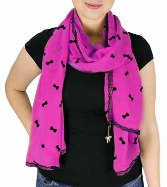 Fuchsia Vintage Bow Embossed Scarf with Jewelry Charm & Lace Border