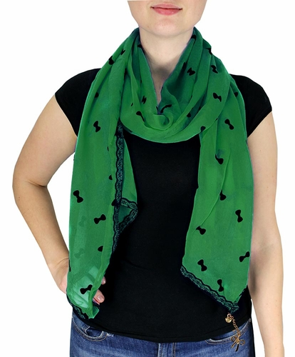 Green Vintage Bow Embossed Scarf with Jewelry Charm & Lace Border