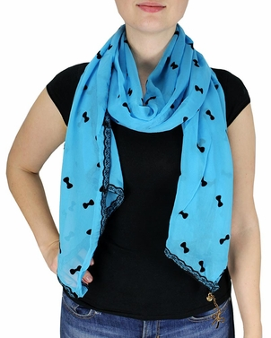 Sky Blue Vintage Bow Embossed Scarf with Jewelry Charm & Lace Border