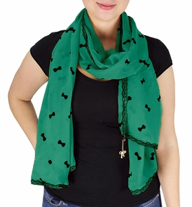 Vintage Bow Embossed Scarf with Jewelry Charm & Lace Border (Teal)