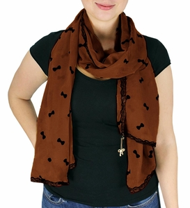 Brown Vintage Bow Embossed Scarf with Jewelry Charm & Lace Border