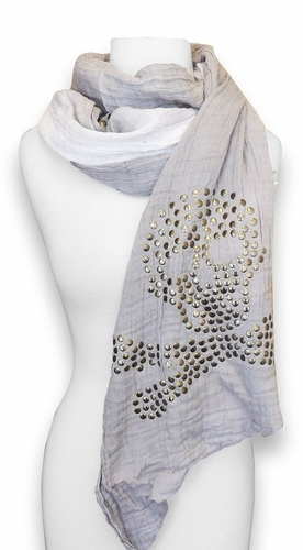 Vintage Crinkled Ombrè Skull Studded Shawl Wrap Scarf Available in Multiple Colors (White)
