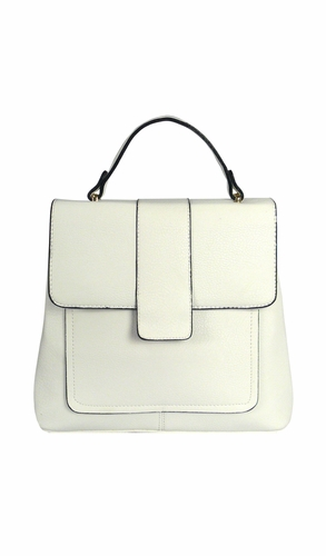 White Vintage Crossbody Shoulder Travel Bag Mini Backpack