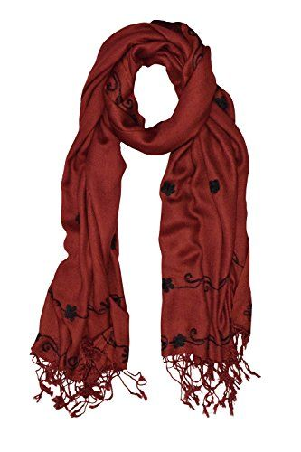 Maroon Vintage Floral Hand Embroidered Pashmina Shawl Scarf