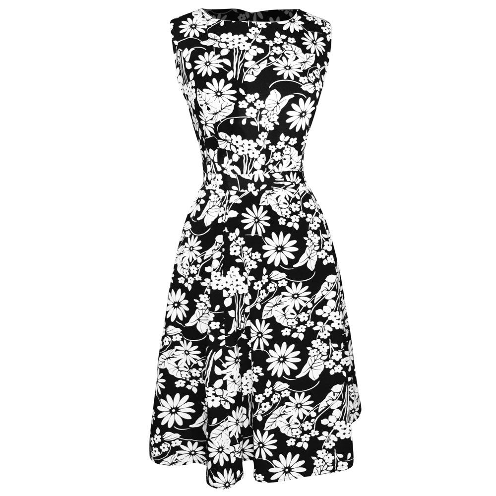 Vintage Inspired Pattern A Line Shift Dress With Fabric Belt Tie