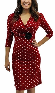 Red Vintage 3/4 Polka Dot Dresses