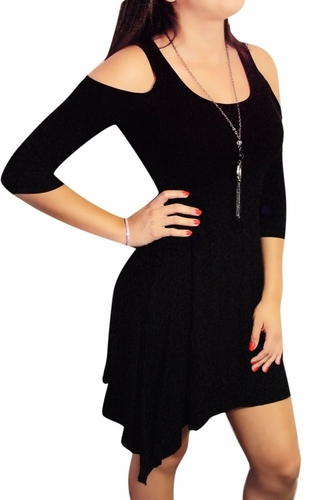 Black Vintage Inspired 3/4 Slit-Sleeve Mini Dress