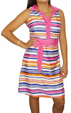 Hot Pink Vintage Striped Belted Dress