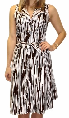 Brown Lined Vintage Inspired Pattern Button Up Shift Dress with Fabric Belt Tie 100% Cotton