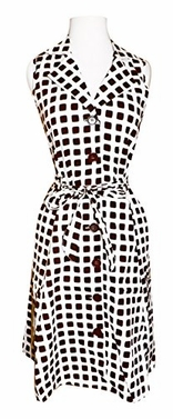 Brown Polka Vintage Inspired Pattern Button Up Shift Dress with Fabric Belt Tie 100% Cotton