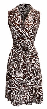 Zebra Vintage Pattern Button Up Shift Dress with Fabric Belt Tie 100% Cotton