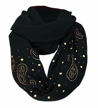 Vintage Simple Paisley Embellished Infinity Loop Circle Scarf (Black)