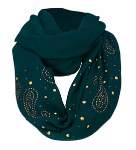 Vintage Simple Paisley Embellished Infinity Loop Circle Scarf (Blue)