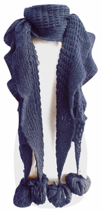 Blue Vintage Ruffle Knit Scarf with Poms