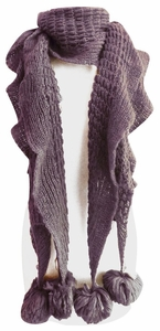Vintage Style Ruffle Knit Scarf with Poms (Purple)