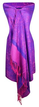 Violet and Hot Pink Elegant Vintage Two Color Jacquard Paisley Pashmina Shawl Wrap