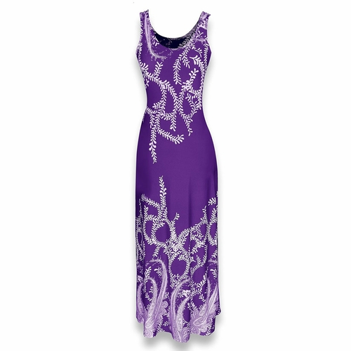 Purple Paisley Print Sleeveless Scoop Neck Maxi Dress