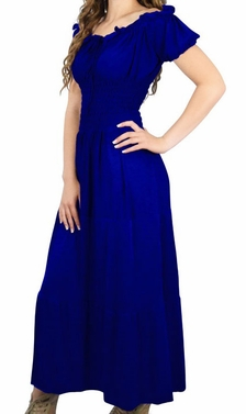 Blue Gypsy Boho Cap Sleeves Smocked Waist Tiered Maxi Dress