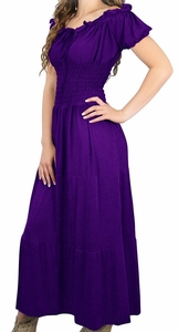 Purple Gypsy Boho Cap Sleeves Smocked Waist Maxi Dress