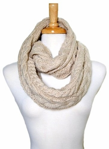 Warm and Comfy Beige Cable Knitted Loop Scarf